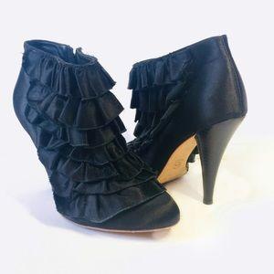 BCBG MAXAZTRIA Black RUFFLED Ankle Boots